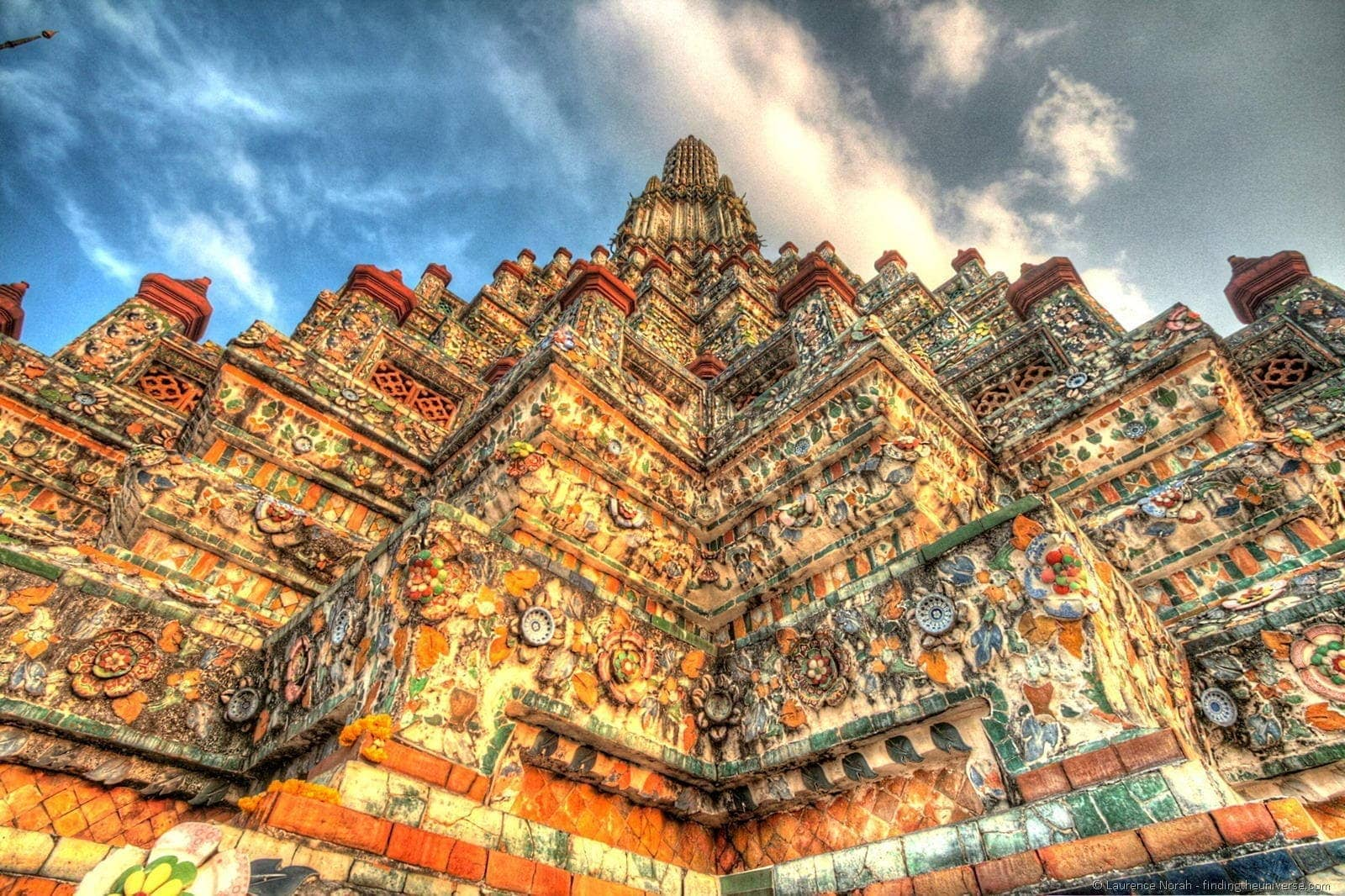 Wat Arun temple Thailand Bangkok sunset close up