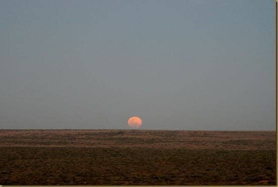 Moon rise over outback
