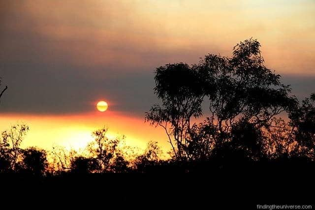 Sun setting into a bush fire - Northern Territory - Australia