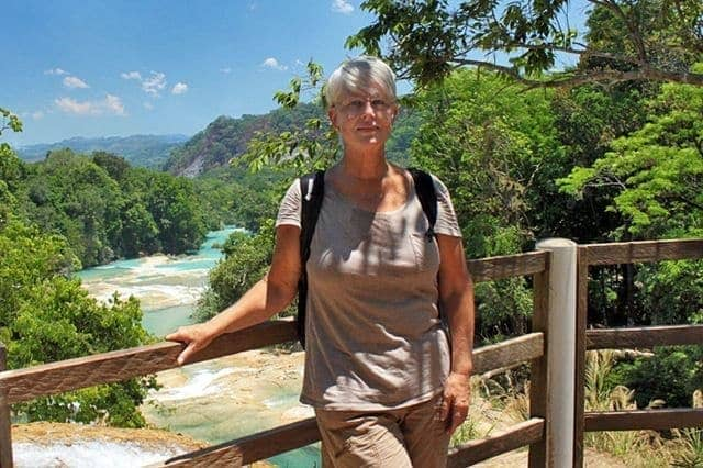Barbara Weibel at Agua Azul Waterfall, Chiapas, Mexico
