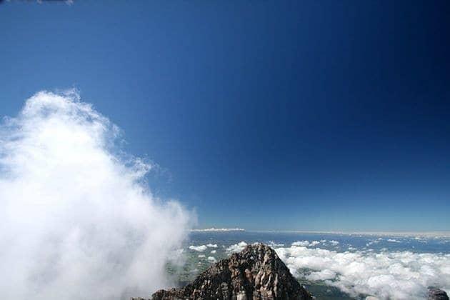 Cloudy mountain top