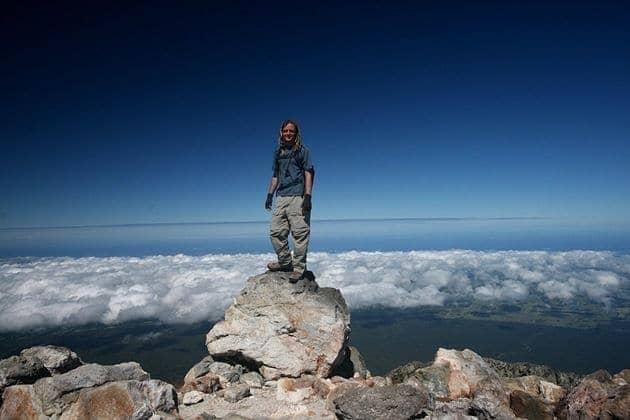 Laurence on the summit of Taranaki