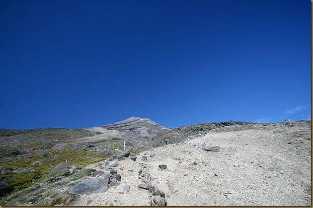 Scree slope up Taranaki