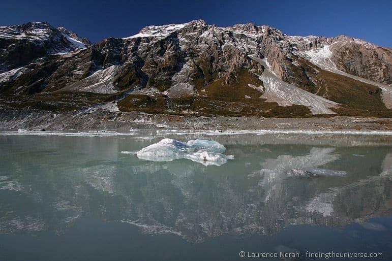 Iceberg floating in glacial hooker lake