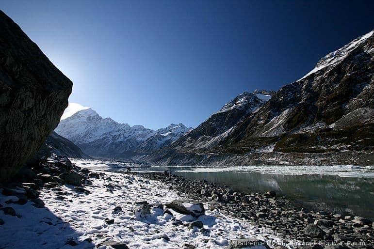 Mount Cook and iceberg coated lake