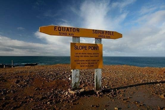Slope Point Sign Southernmost point of New Zealand