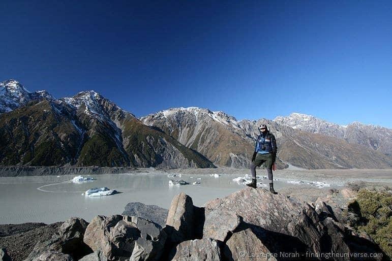 Tasman lake glacier icebergs girl