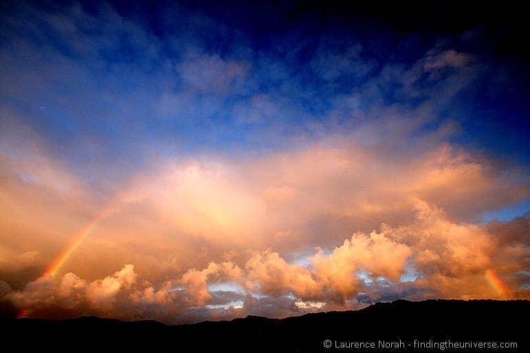 Sunset rainbow southern alps