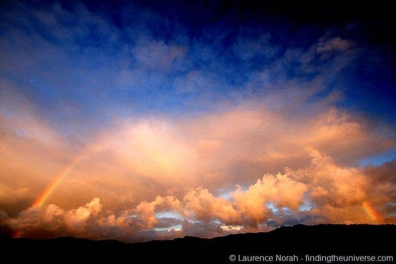 Sunset rainbow southern alps