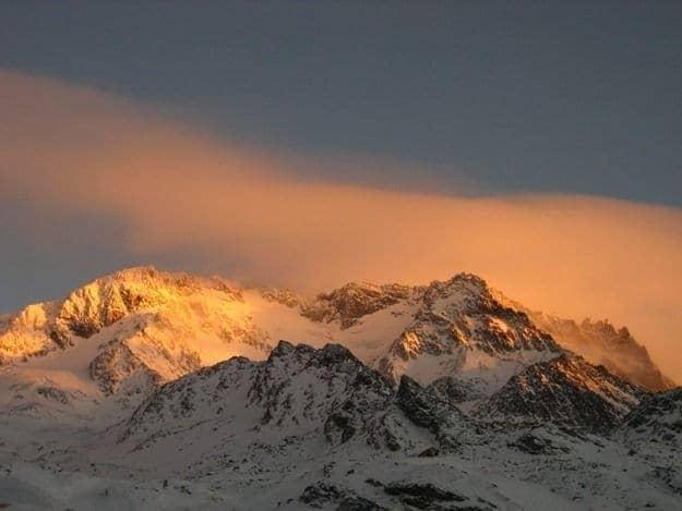 Val Thorens mountain at sunset