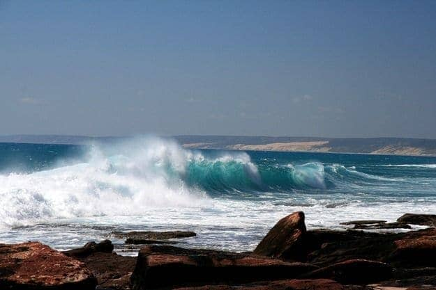 Waves carshing on the coastline of Kalbarri Western Australia