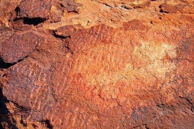 Fossilised rock ripple of sand dune Kings Canyon outback Australia