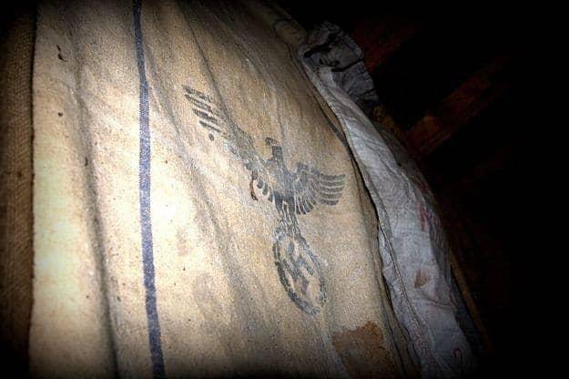Nazi swastika symbol with eagle on flour bag