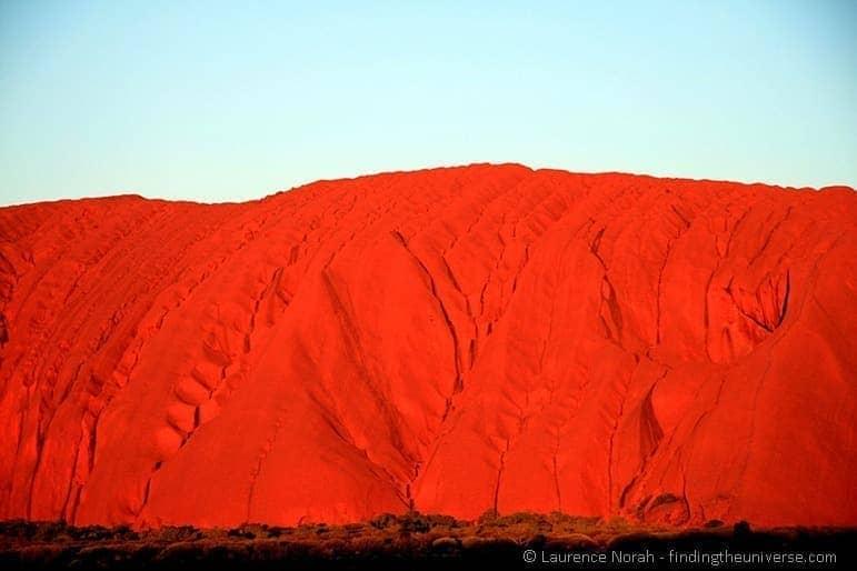 Part of Uluru at sunset