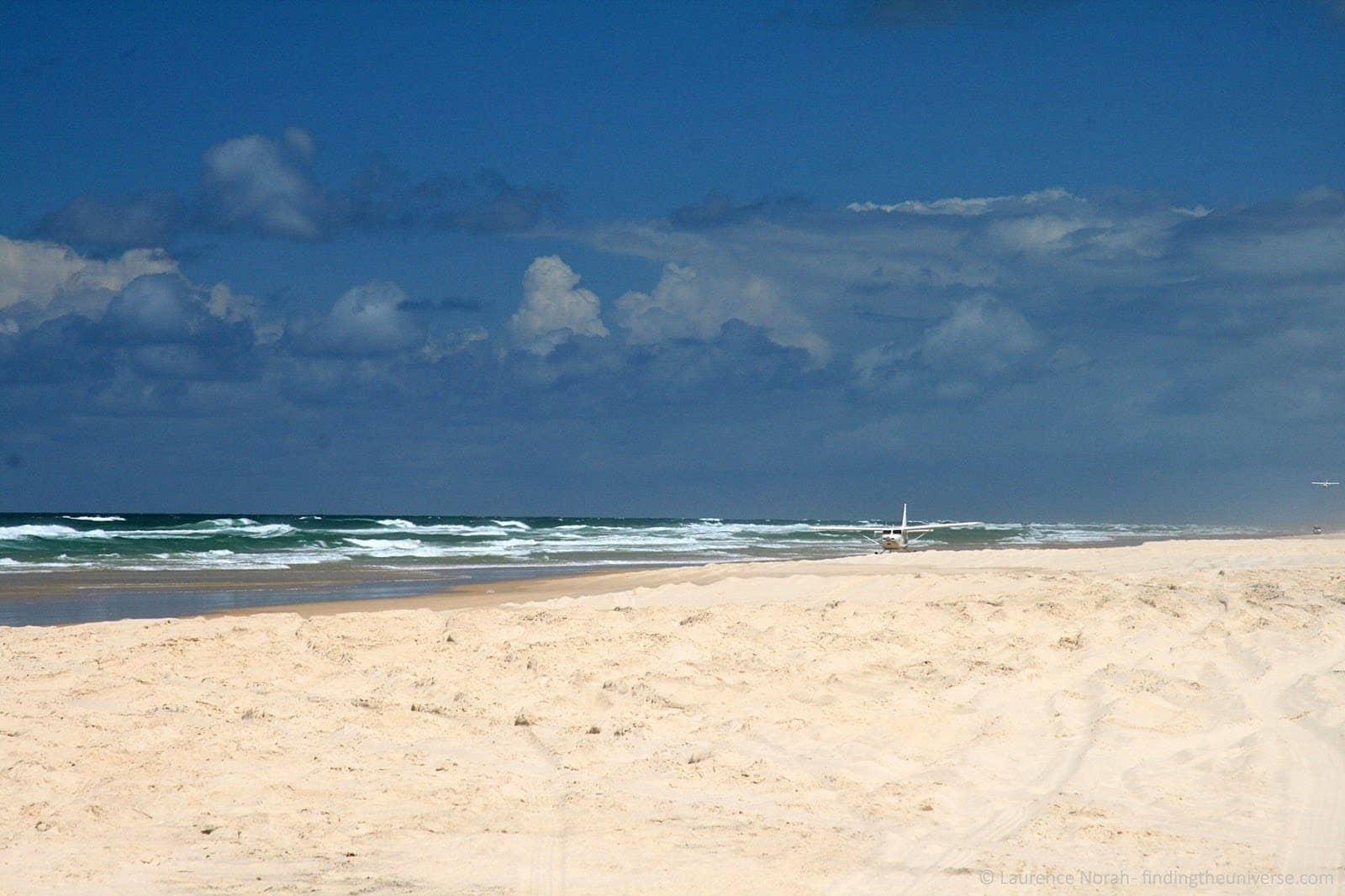 Plane landing on beach Fraser Island Australia.png