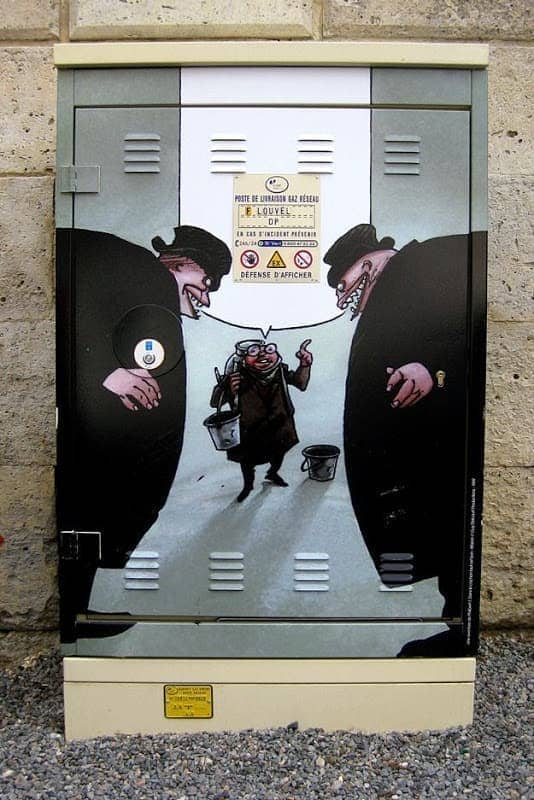 Street Art French Angouleme Two scary big men intimdating small man.png