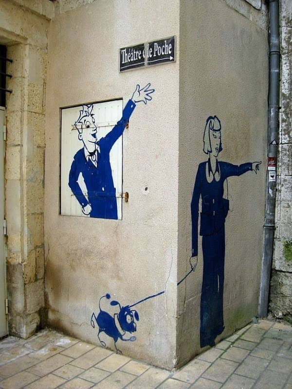 Street Art French Angouleme Waving Man and Woman with dog.png