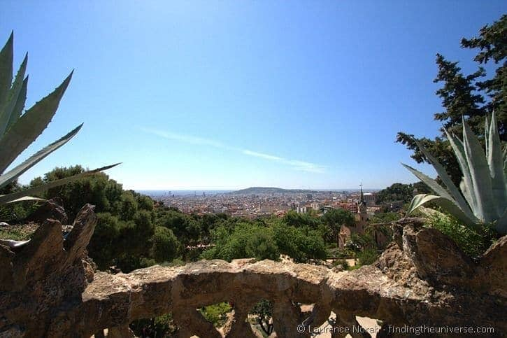 View across Barcelona from Parc Guell with Montjuic Hill in background