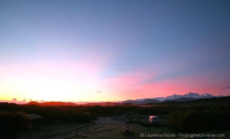 Sunrise campsite New Zealand