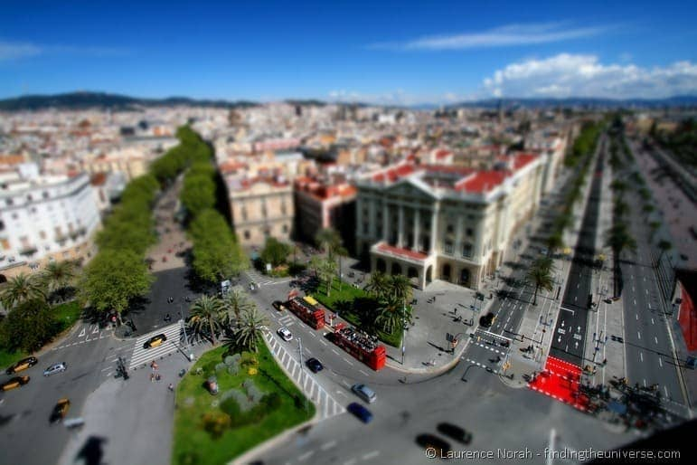 tilt shift from Colombo Statue barcelona 2