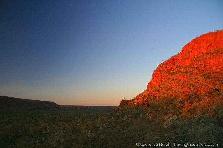 Sunset over Purnululu bungle bungle mountain range