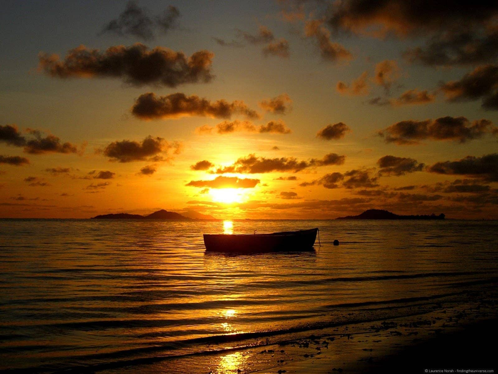 Seychelles boat sunset