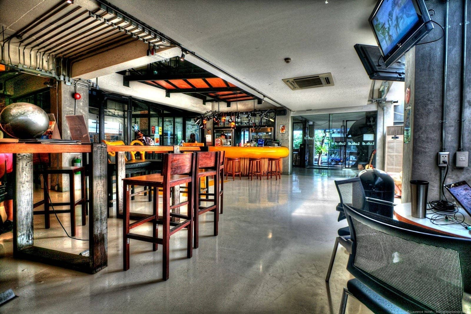 Lub d Silom Hostel main area and bar Bangkok Thailand