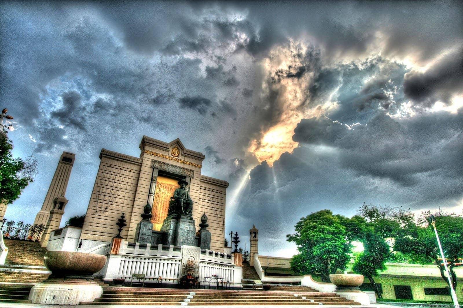 Memorial bridge entry Thailand Bangkok clouds