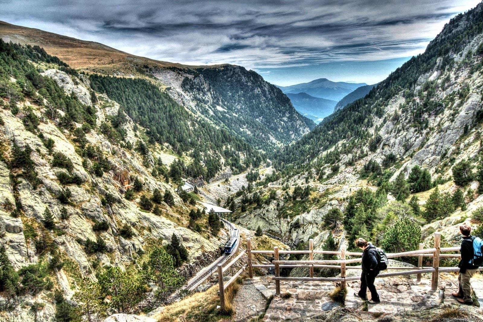 Train entering Nuria Valley Catalonia Pyrenees