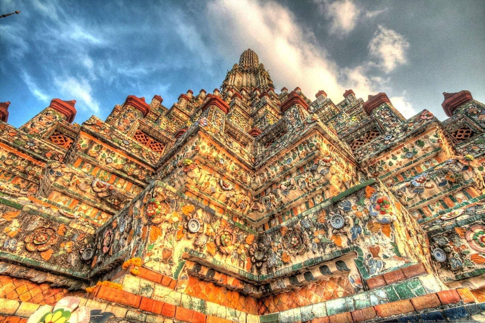 Wat Arun temple Thailand Bangkok sunset close up