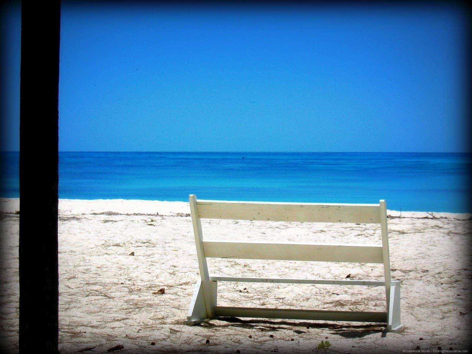 bench on beach seychelles