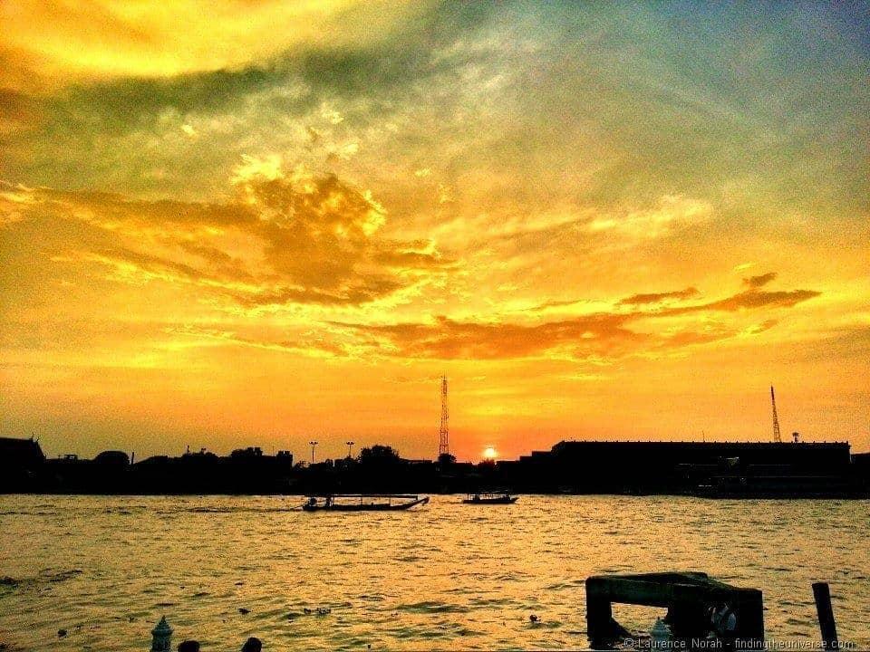 Chao Phraya river sunset bangkok thailand