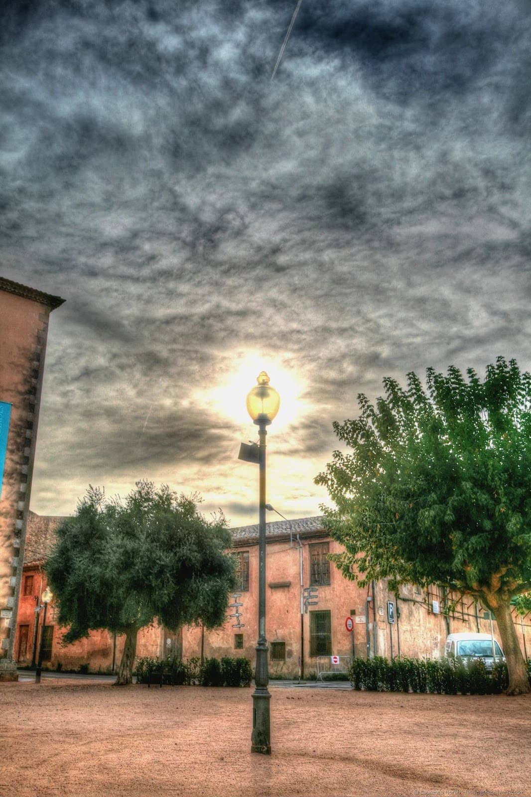 Glowing street lamp spain catalonia
