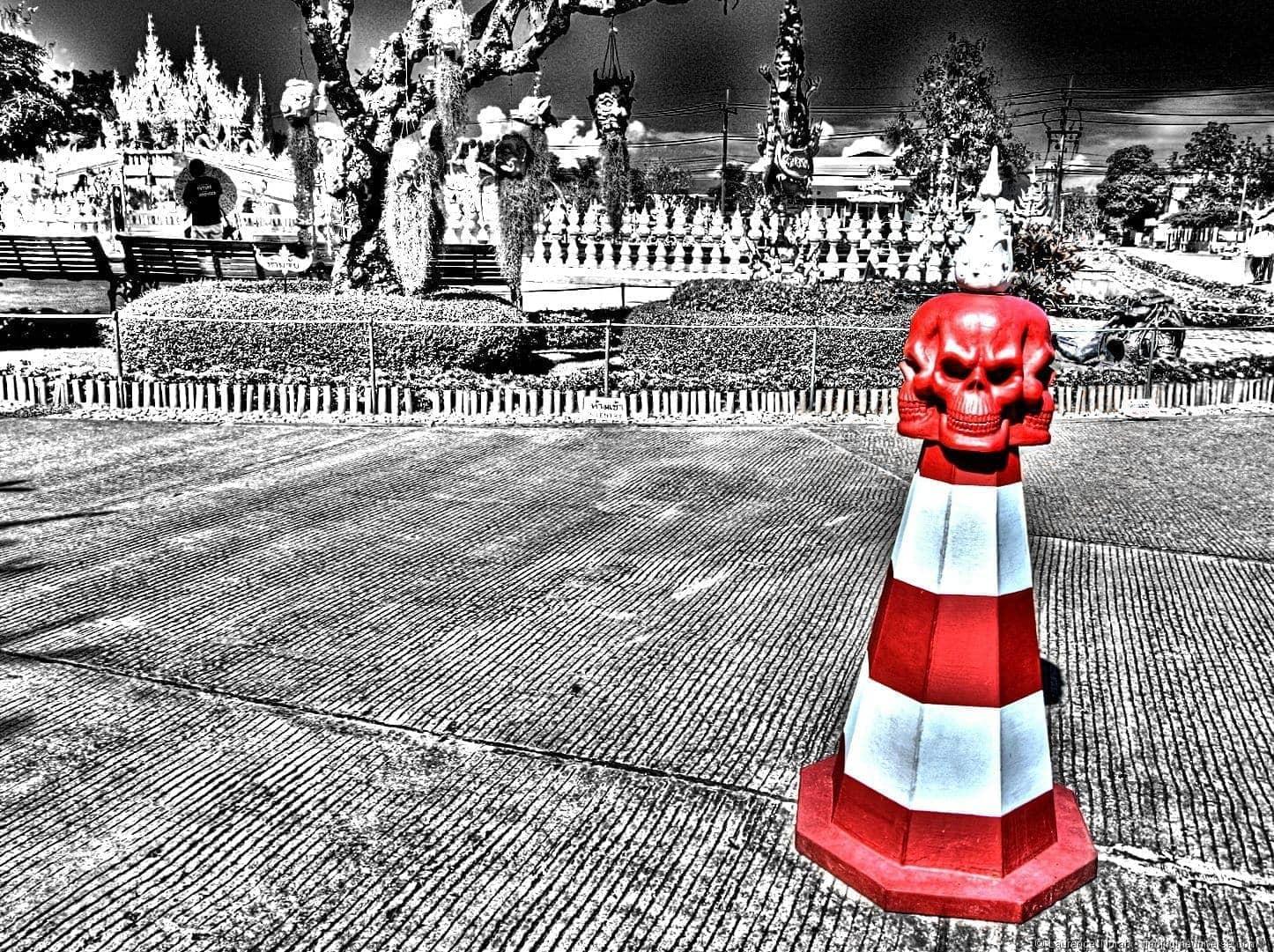 Insane traffic cone skull white temple chiang Rai Thailand
