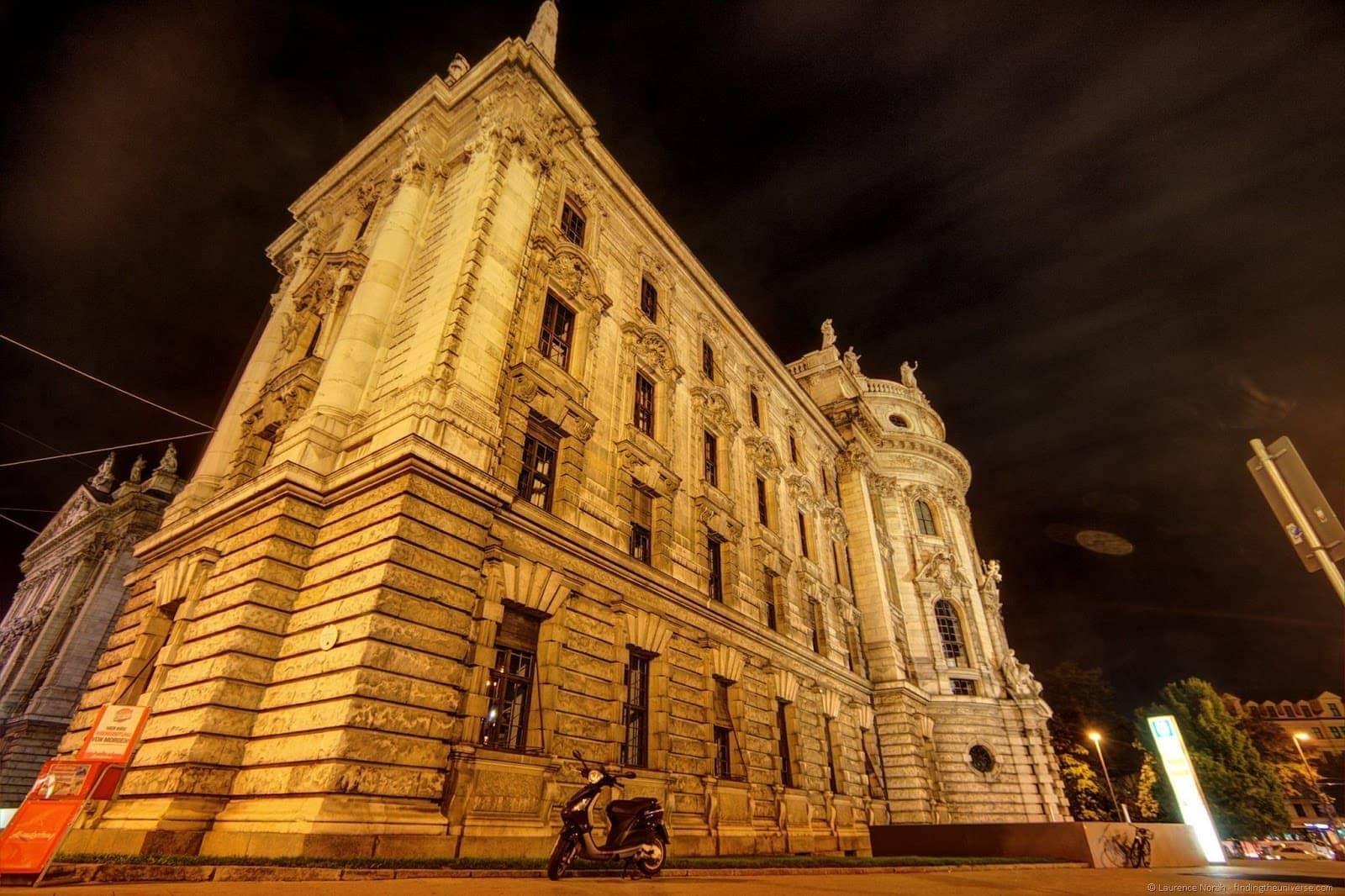 Munich palace of Justice night edited