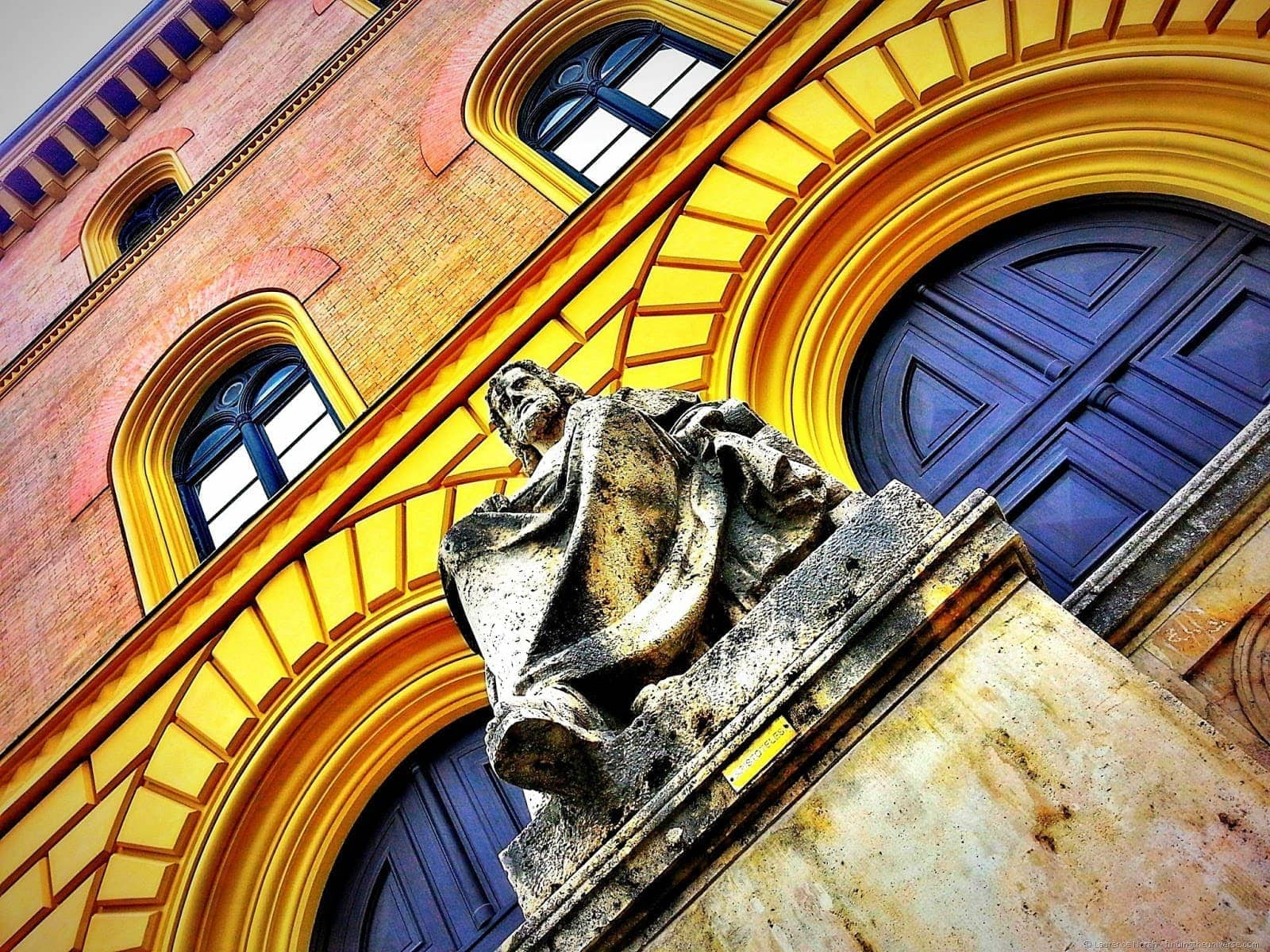 Statue against colourful backdrop Munich