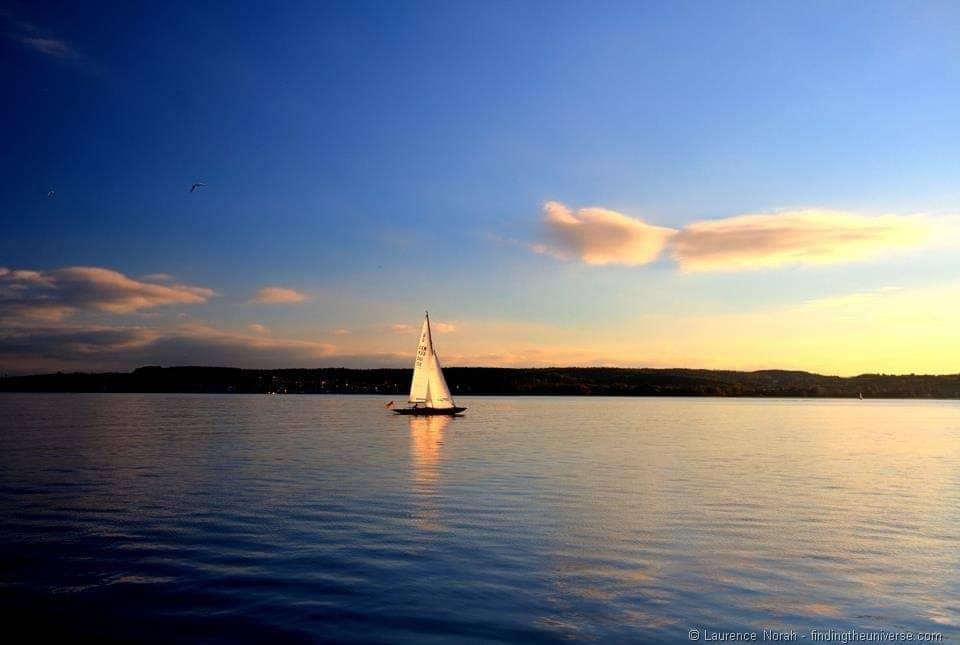 Sunset sailboat lake Constance
