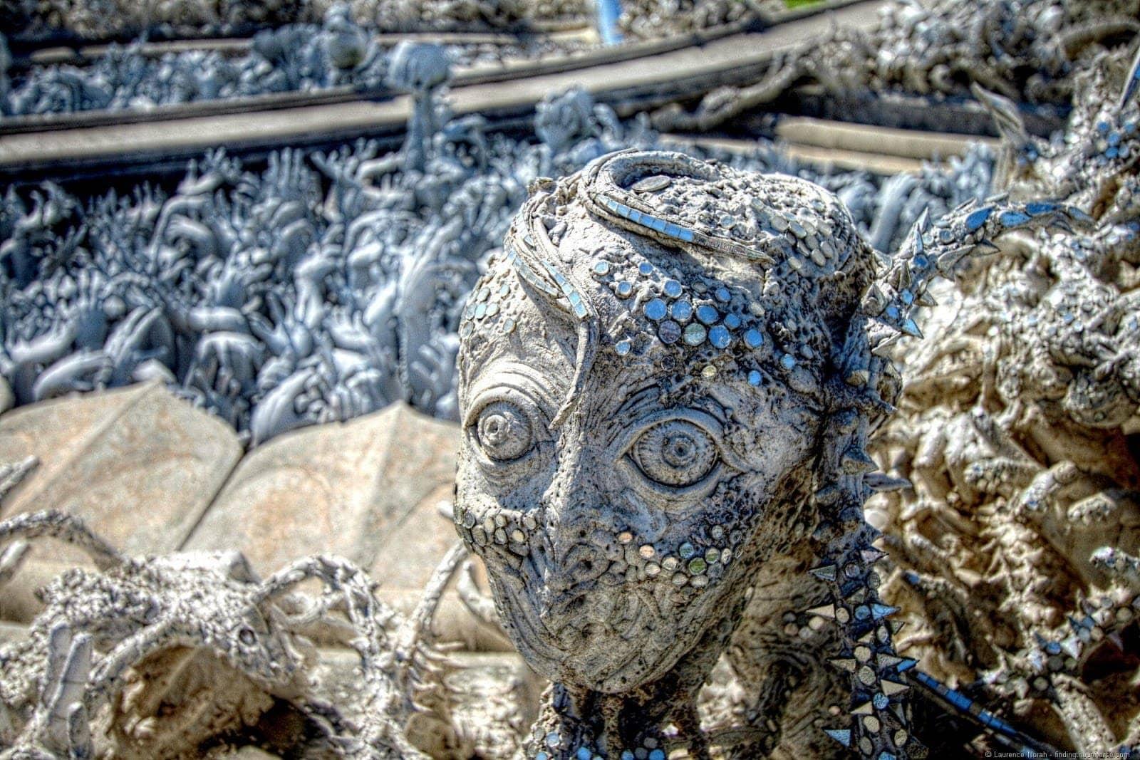 White temple Head close up Chiang Rai Thailand