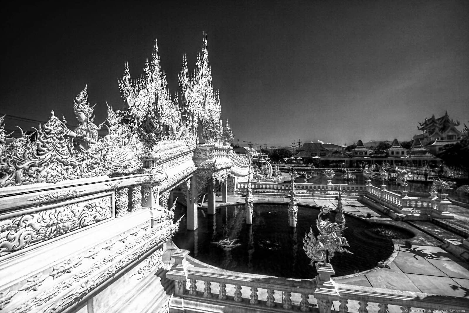 White temple pond and bridge Chiang Rai Thailand