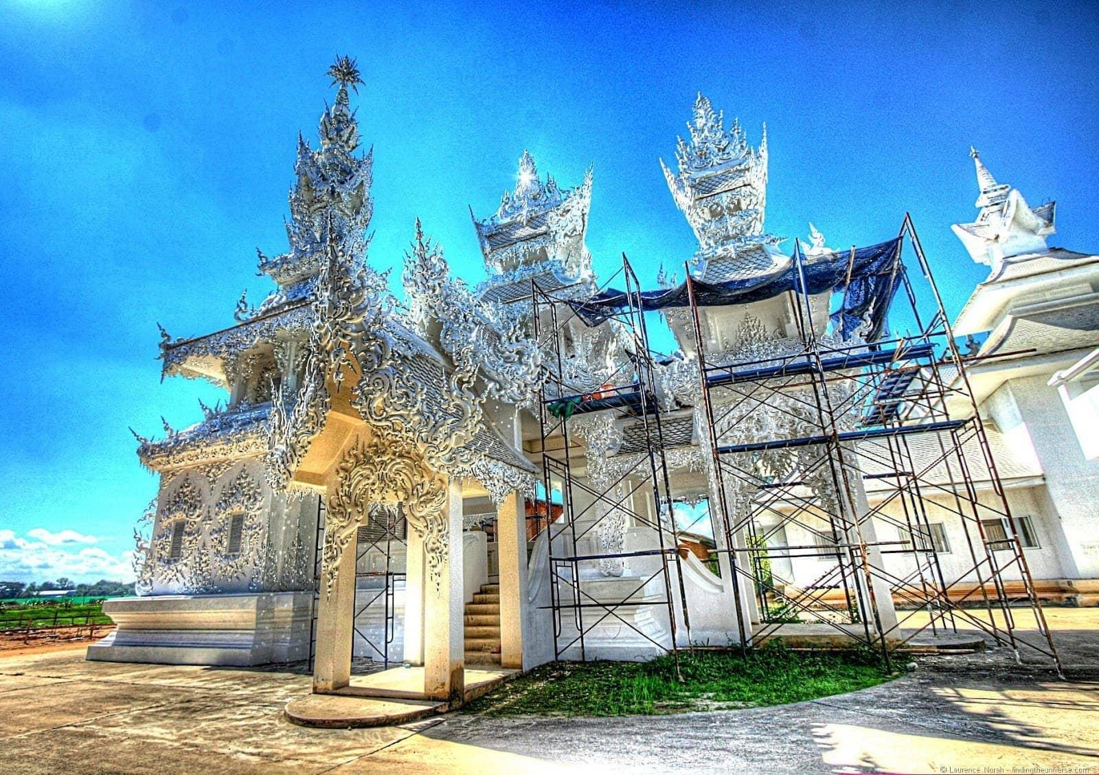 White temple scaffolding Chiang Rai Thailand