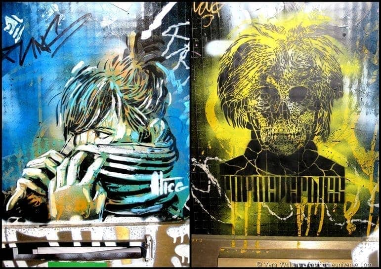 Andy warhol yellow street art skull girl wrapped up Barcelona