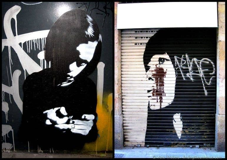 Barcelona street art doors collage