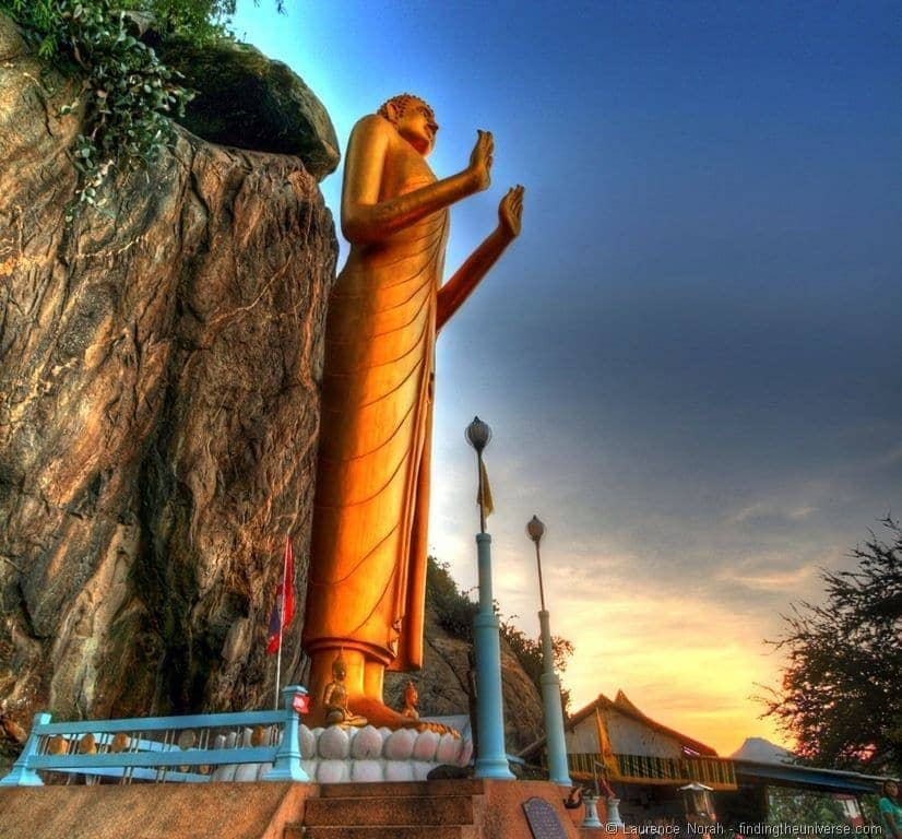 Buddha statue sunset Hua Hin Takieb Village beach