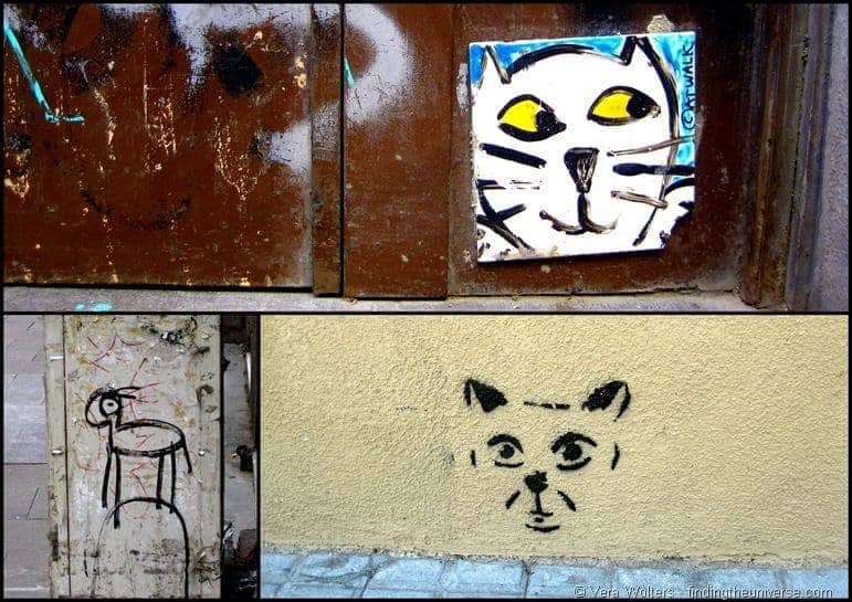 Cat collage Barcelona street art