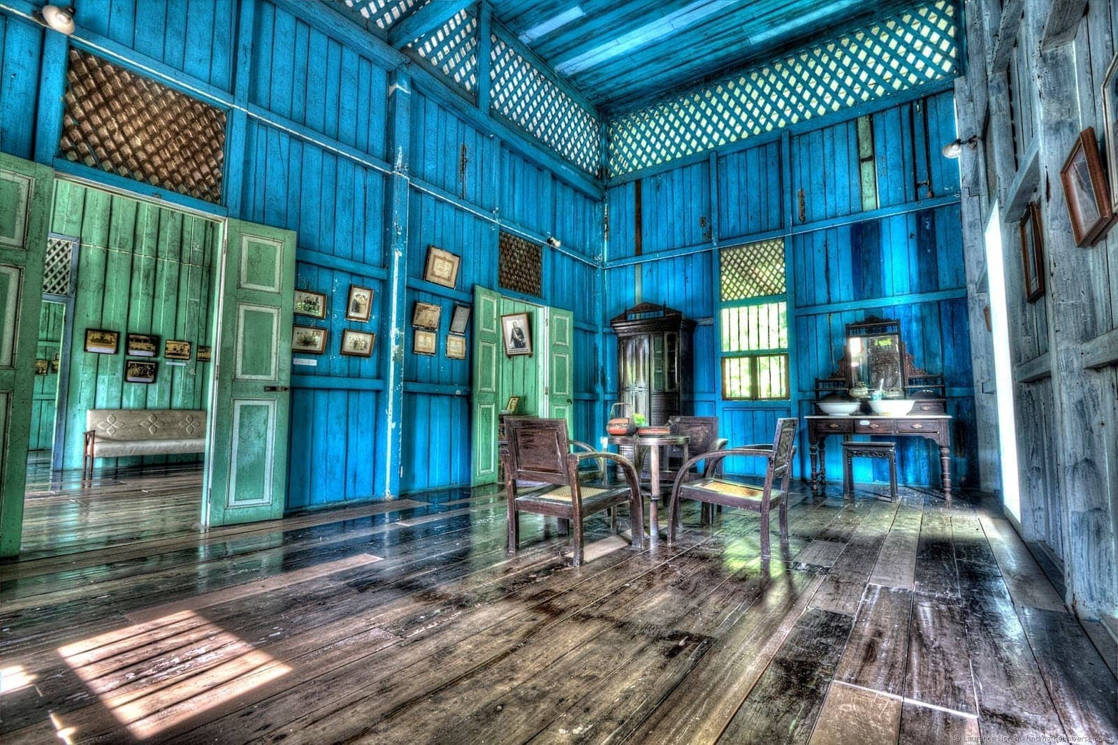 Governors House interior Trang colonial style blue walls