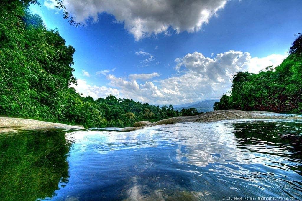 Pool at top of Namtok Karom waterfall level 7 Khao Luang National Park Thailand