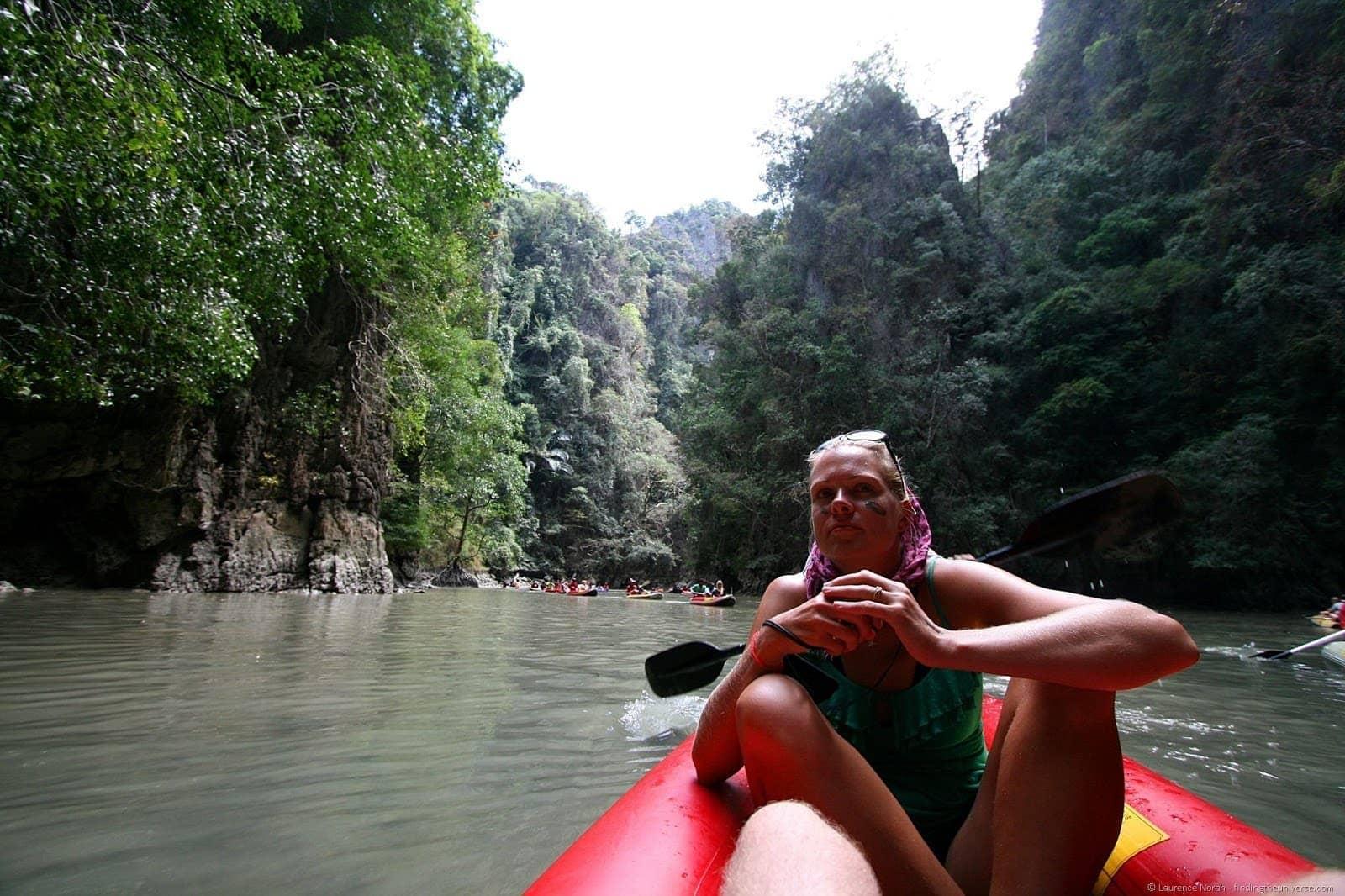 Vera in canoe James Bond canoe trip Phang Nga Thailand