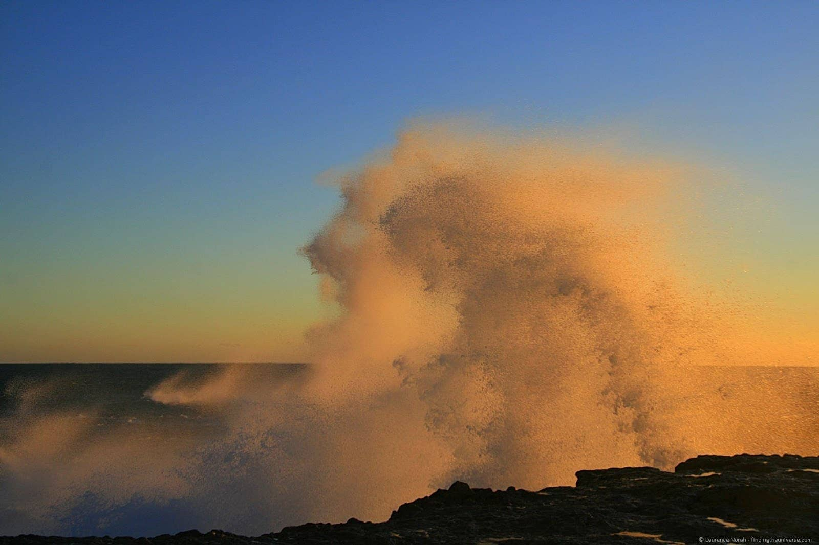 Wave crashing at sunset - Western Australia - Australia