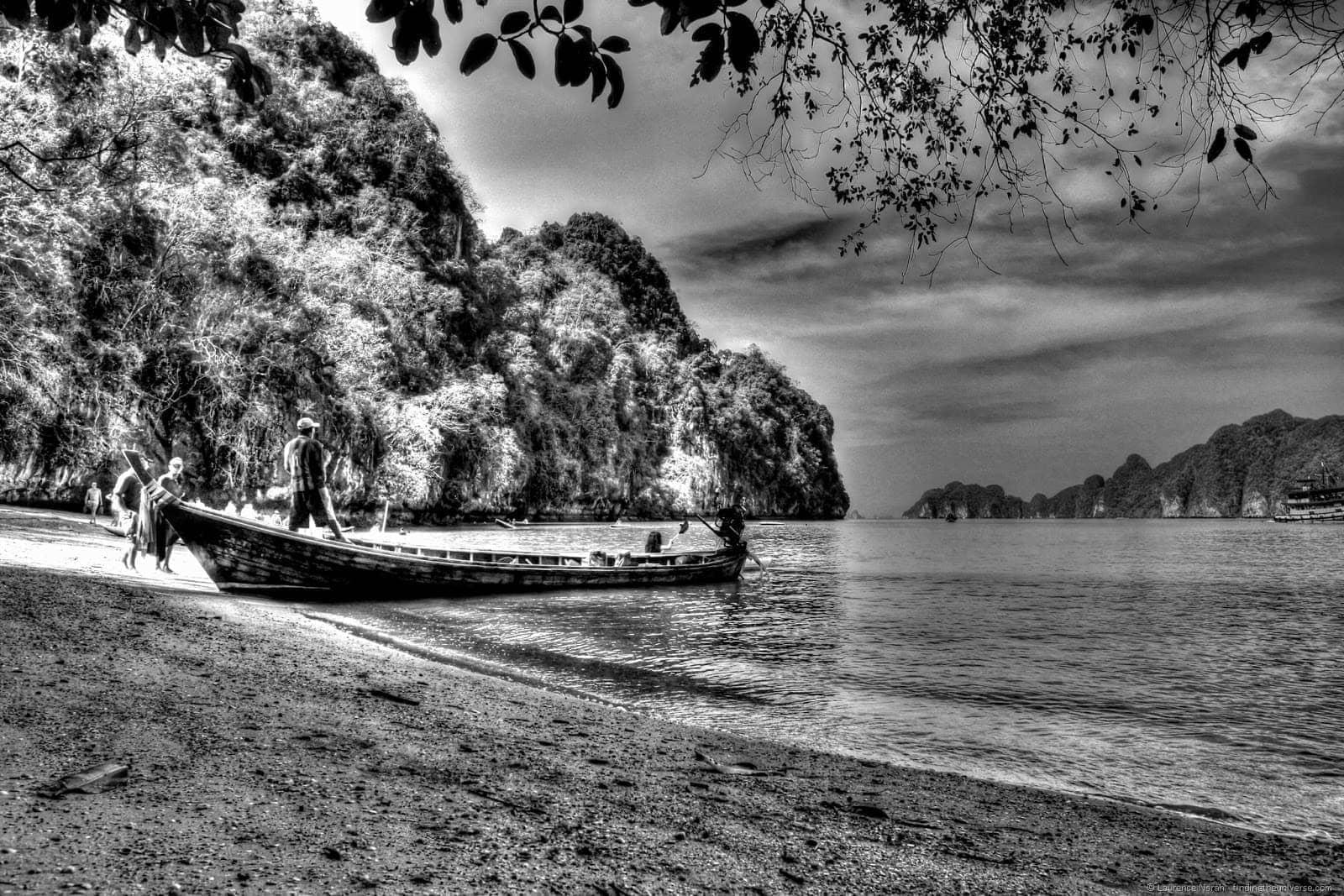 black and white fishing boat Phang Nga Thailand