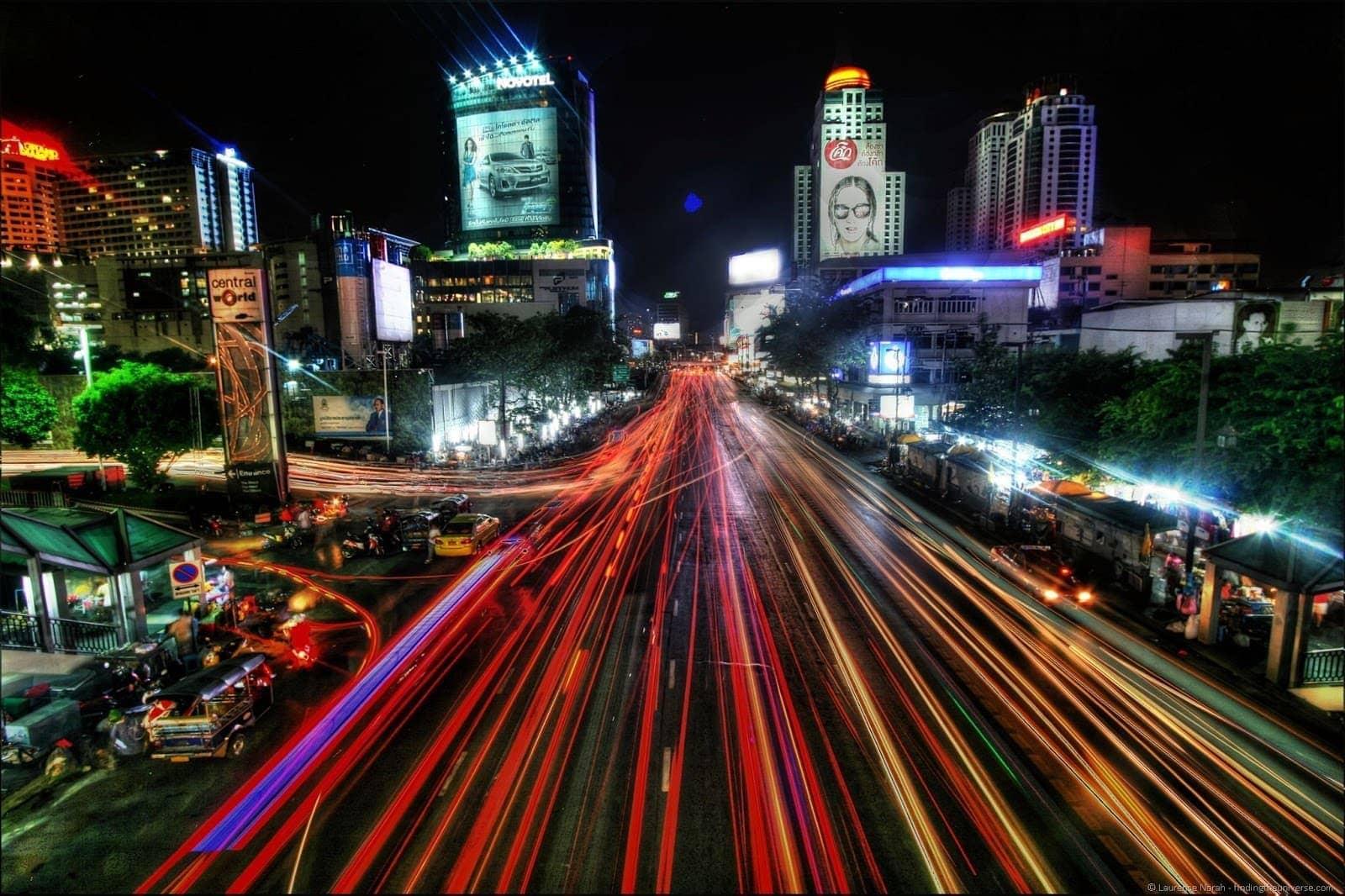 Bangkok traffic night scene lights